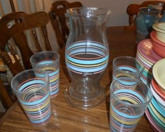 Fiesta Candle holder and glasses