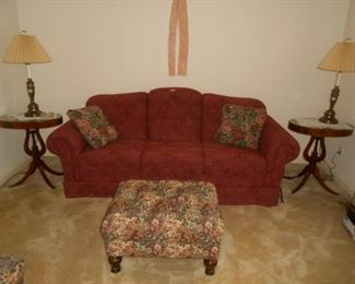 Beautiful rarely used sofa, matching end tables
