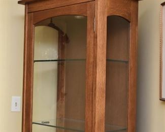 Mission Oak Tower Display Cabinet with Glass Doors & Shelves
