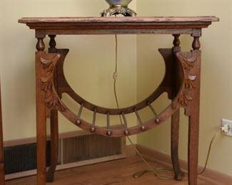 Antique Oak Parlor Table (Carved Leaves Design)