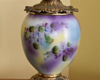 Hand Painted Porcelain & Brass Hurricane Lamp