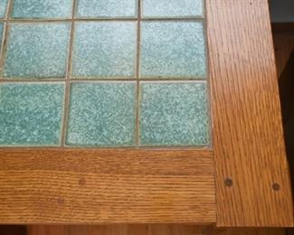 Mission Oak End Table with Tile Inset (Larger of 2)