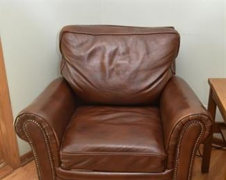 Brown Leather Lounge Chair with Ottoman and Nailhead Trim (1 of 2)