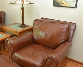 Brown Leather Lounge Chair with Ottoman and Nailhead Trim (2 of 2)