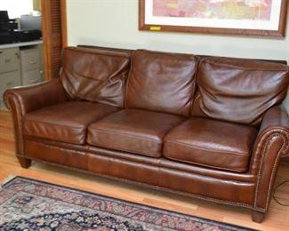 Brown Leather 3-Seat Sofa with Nailhead Trim