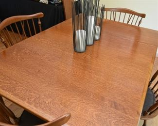 Oak Dining Table with Shaker Legs (& 3 extension leaves), 4 Spindle Back Dining Chairs