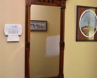 Antique Wall Mirror with Wood Frame