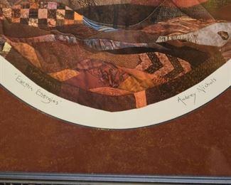 Framed Textile / Fabric Artwork, Signed by Artist