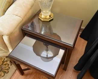 Set of 2 Asian Style Nesting End Tables