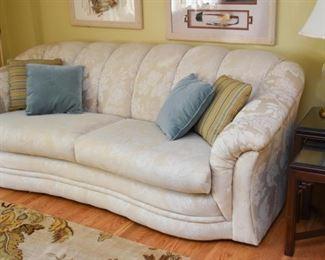 Elegant Damask Sofa, Throw Pillows