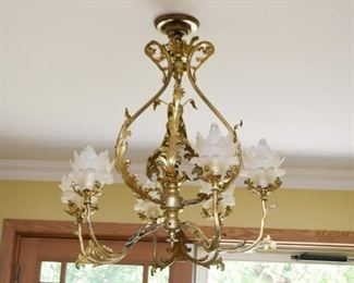 Antique Brass Chandelier with Flower-Shaped Glass Shades