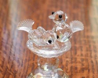Crystal Miniatures - 2 Birds in Birdbath