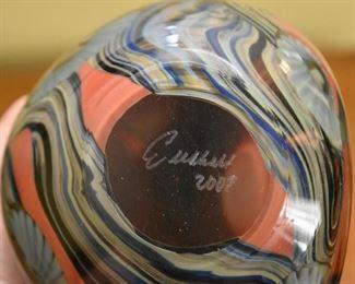 Eickholt Art Glass Paperweight, Signed