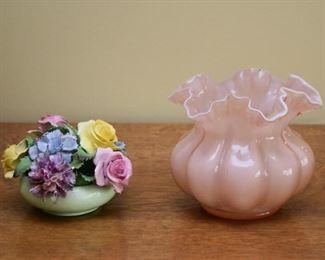 Porcelain Floral Figurine, Art Glass Vase
