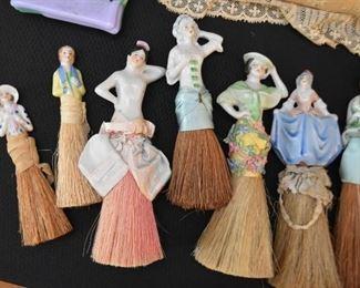 Vintage Porcelain Half Doll Vanity Whisk Brooms / Brushes (Middle doll is SOLD)