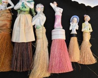 Vintage Porcelain Half Doll Vanity Whisk Brooms / Brushes
