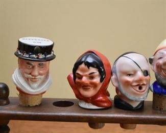 Vintage Jolly Pourers / Porcelain Head Bottle Stoppers