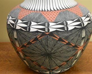 Large Acoma / Native American Tri-Color Pottery Vase
