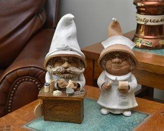 Clay Pottery Troll Figures (Pharmacist & Nurse)