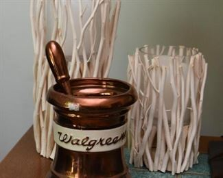 Candle Holders, Decorative Walgreens Pharmacy Mortar & Pestle Figure