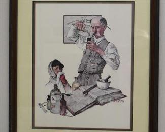 Framed Norman Rockwell Pharmacy Print