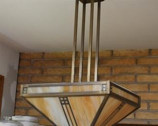 Mission Style Stained Glass Ceiling Light Fixture