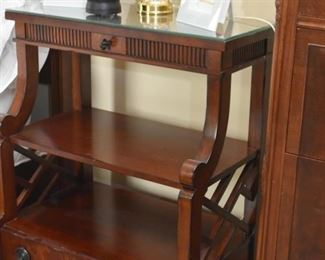 Pair of Tall Flame Mahogany Nightstands