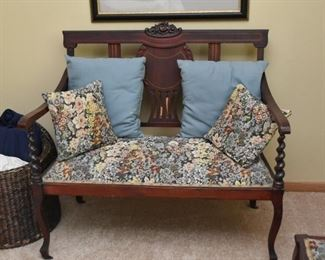 Pretty Bench with Upholstered Seat