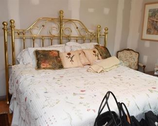 King Size Brass Bed, Bed Linens