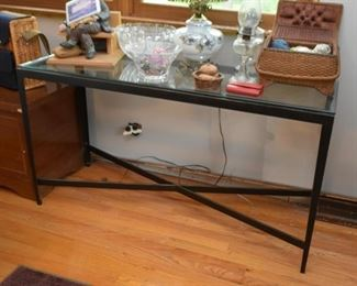 Metal Glass-Top Console / Sofa Table