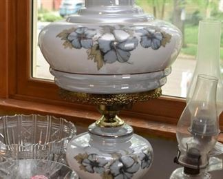 Hand Painted Glass Hurricane Table Lamp