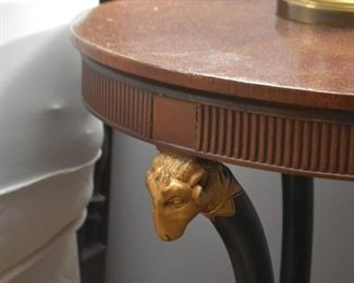 Round Side Table with Ram's Head Detail (there are a pair of these)