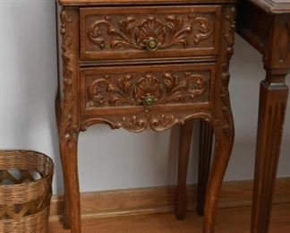 Ornate 2-Drawer Wood Side Table