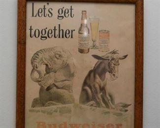 Vintage Budweiser Beer Advertising Print