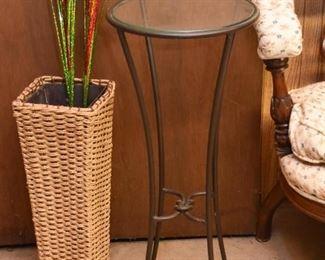 Metal & Glass Pedestal / Display Stand, Wicker Floor Vase