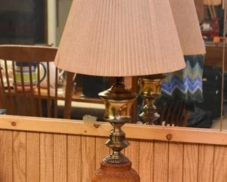 Vintage Table Lamp with Amber Glass & Brass Base