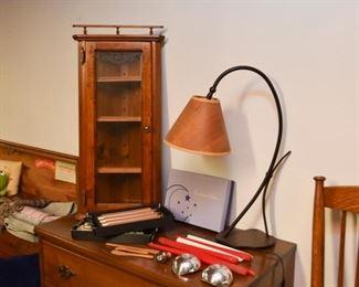 Corner Curio Wall Cabinet, Metal Table Lamp