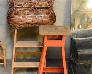 Covered Basket, Small Step Stool, Workshop Stand