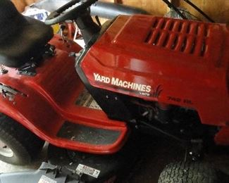 Like new 742 RL Yard Machine riding mower with bagger and thatcher
