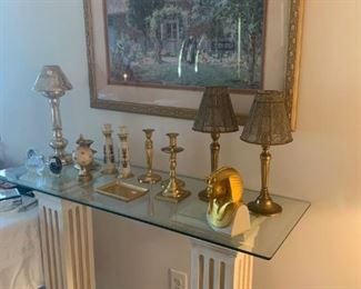 pedestal console with beveled glass
