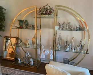 Beautiful brass and glass circular etagere,  in perfect condition