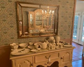 gold mirror, misc lenox and Thomasville server