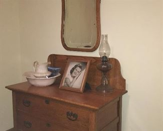 Washstand Cabinet, with Pitcher and Bowl, Oil Lamp, Mirror