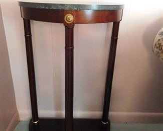 Mahogany Half Round Marble Top Stand