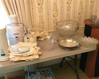 Beautiful punch bowl, underplate, cups and matching plates