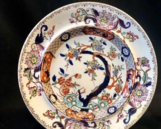 Mason's Ironstone Terracotta Tree Peony- one of a pair of dinner plates.