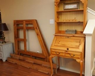 Drop front desk and wooden bunk bed