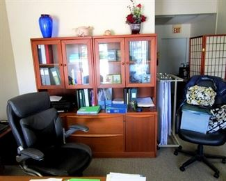 Credenza with matching executive size desk, leather swivel chair,, printer table and file cabinet