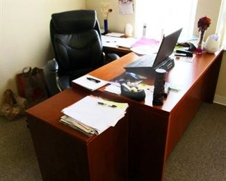 Executive desk, leather chair, file cabinet
