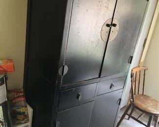 Asian wood armoire